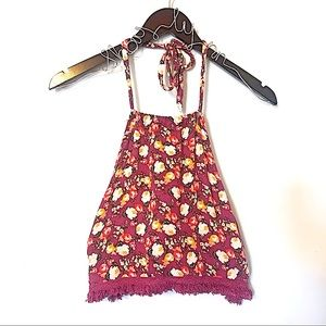 American Eagle Floral Print Halter Top Size XS